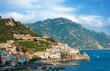 Aerial view of the Amalfi Coast with Amalfi city, Italy