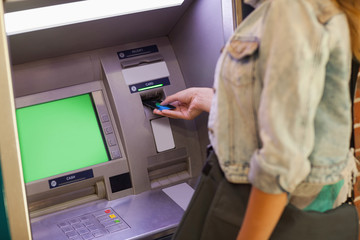 Student withdrawing cash