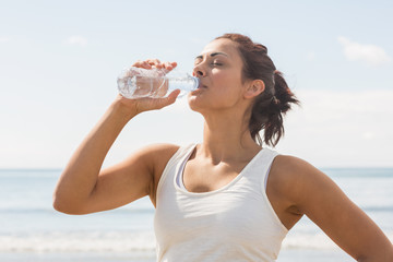 Content beautiful woman drinking of water bottle