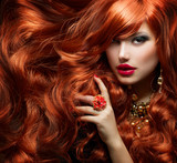 Fototapety Long Curly Red Hair. Fashion Woman Portrait