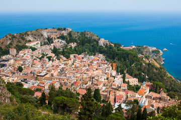 Aerial view of the Taormina city, Sicily island, Italy