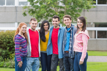 Group portrait of college students in the park