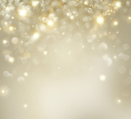 Christmas. Golden Holiday Background With Blinking Stars