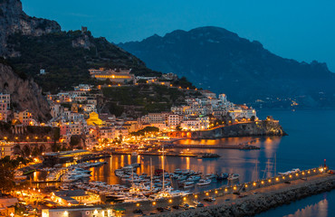 View of the Amalfi city at night, Italy