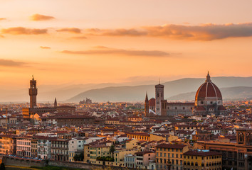 Golden sunset over Florence, Italy