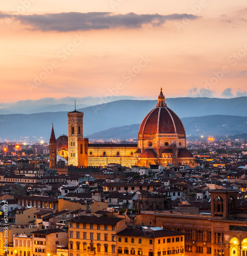 Cathedral of Santa Maria del Fiore at dusk, Florence, Italy