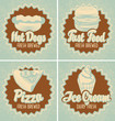 set banners with fast food pizza and ice cream