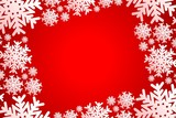red christmas frame with white snowflakes
