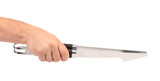 Hand holds kitchen knife.