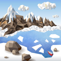 Winter landscape in origami style