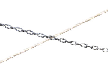 Cross of chain and rope.