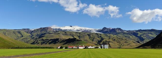 Iceland farm near the volcano