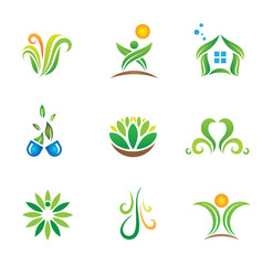 My green social world nature logo template