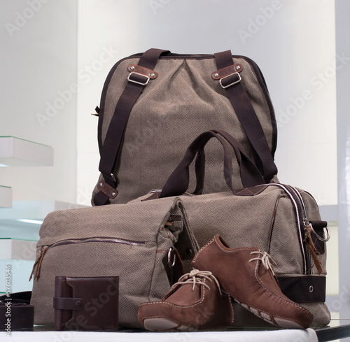 A beautiful set of canvas bags and leather men shoes