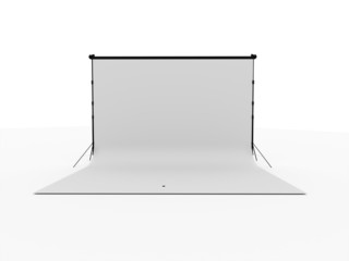 Photo stage with white canvas isolated