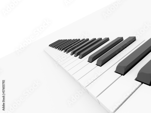 Piano keyboard rendered on white