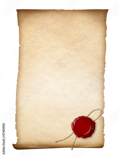 parchment or old paper with wax seal isolated