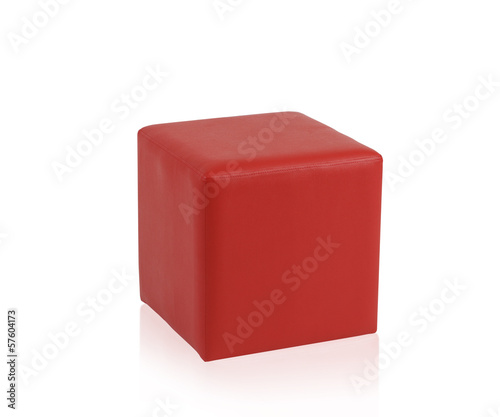 Red leather stool isolated on white background