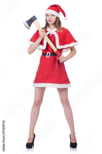 Poster Young woman in red santa costume on white