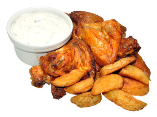 Cooked Chicken Wings And Potato Wedges With Sour Cream Dip