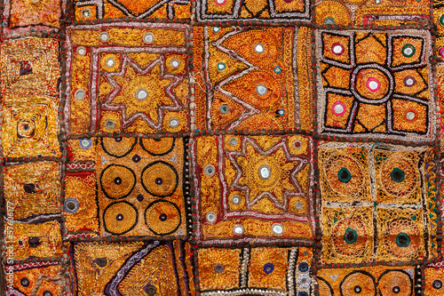 Colorful indian fabric textile. India