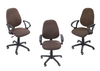 Three office armchairs