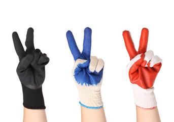Working hands in gloves
