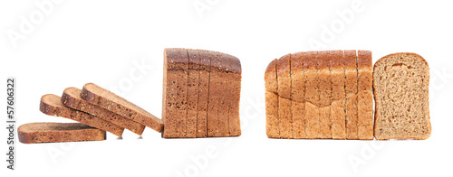 Compozition of sliced brown bread