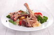 roasted lamb chop and vegetables