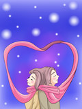 Cute couple bonding in winter scene