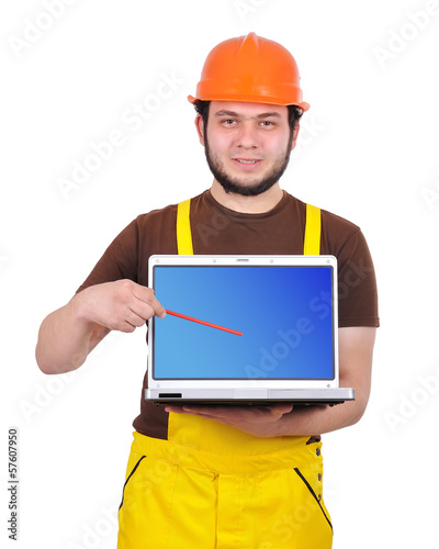 builder holding laptop