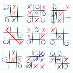 Playing Tic Tac Toe variations on checked paper