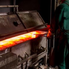 hot iron in furnace