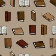 Seamless background tile with leather covered cartoon books.