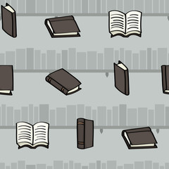 Cartoon books and bookshelves seamless background