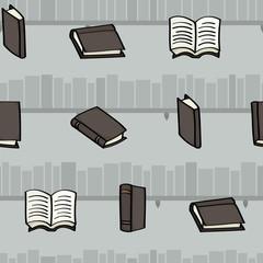 Cartoon books and bookshelves seamless background