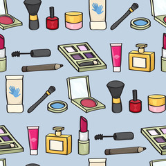 Seamless background tile with cartoon style cosmetics