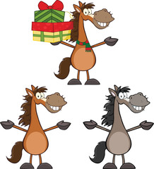 Horses Cartoon Characters 2. Collection Set