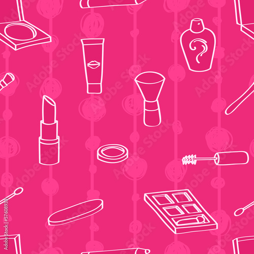 Seamless background tile with outlined cartoon style cosmetics