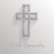 Square card with 3d shadowed cross and text With Sympathy