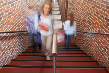 Students climbing stairs