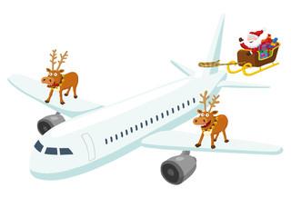 Weihnachtsmann am Flugzeug