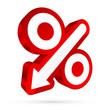 Percent Sign Arrow 3D Sale Red