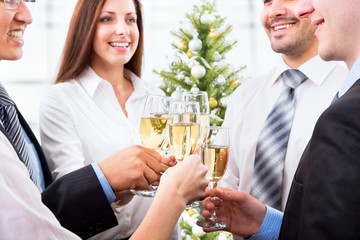 Business partners toast champagne company event celebration