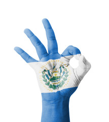 Hand making Ok sign, El Salvador flag painted