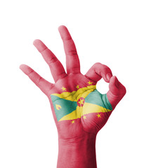 Hand making Ok sign, Grenada flag painted