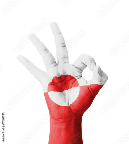 Hand making Ok sign, Greenland flag painted