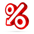Red Percent Sign Arrow 3D Sale