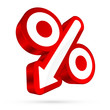 Percent Sign Arrow 3D Sale Red/White