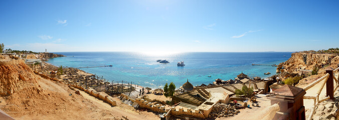 Panorama of the beach at luxury hotel, Sharm el Sheikh, Egypt
